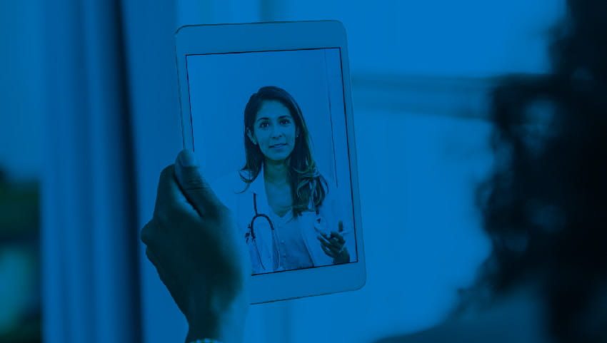 female doctor on a telemedicine call with a patient